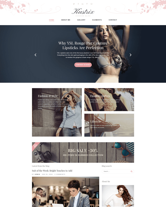 kustrix fashion blog wordpress themes