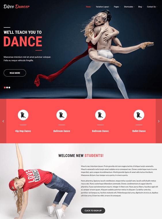 disco dancer WordPress theme for dance schools, classes, and studios