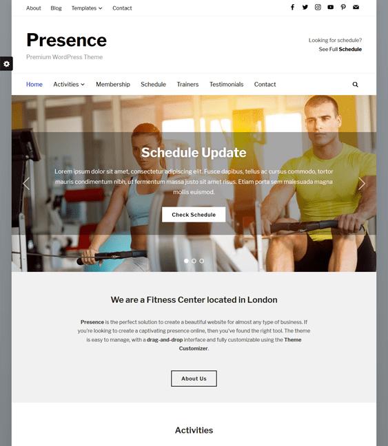 presence gym fitness wordpress themes