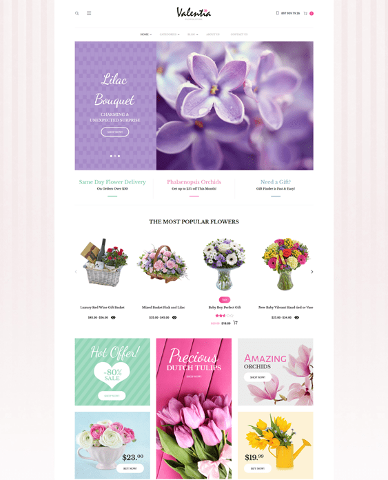 valentia florists flower shops wordpress themes