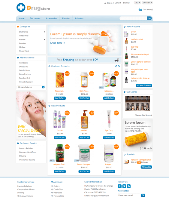 drug medical prestashop themes