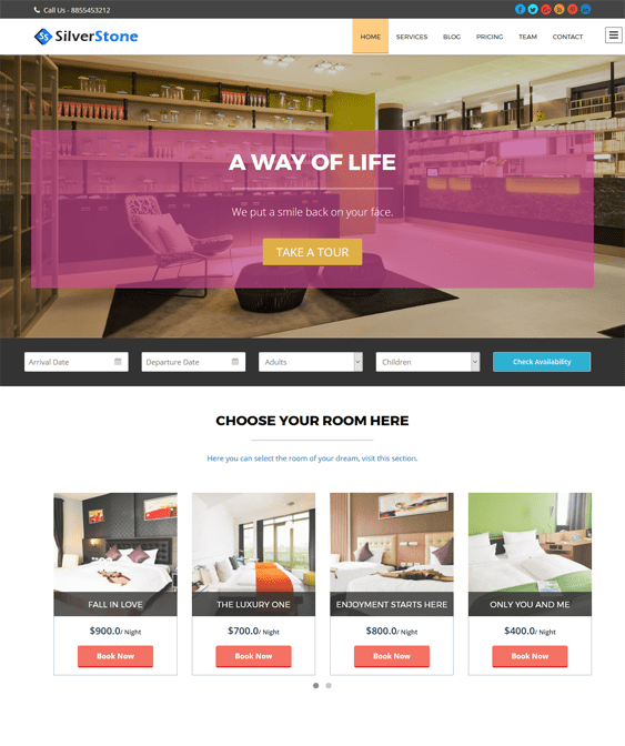 silverstone hotel wordpress themes