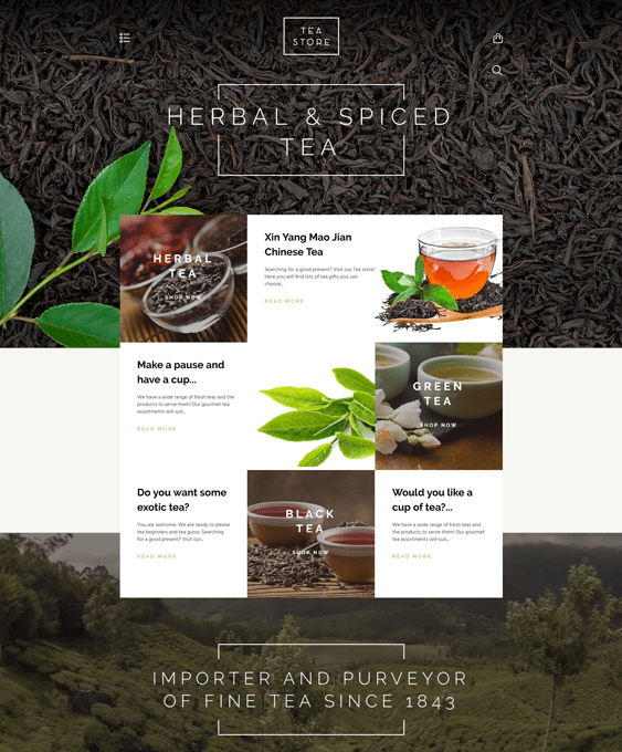 tea shopify themes food drink online stores