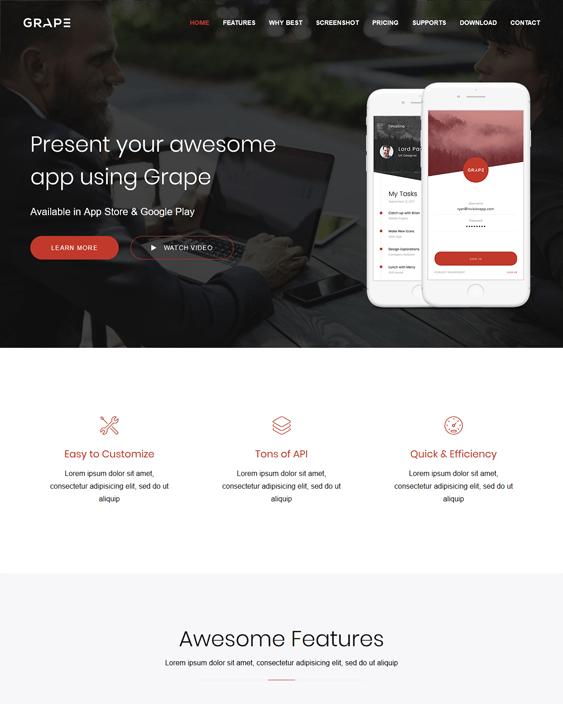 grape wordpress themes promoting apps