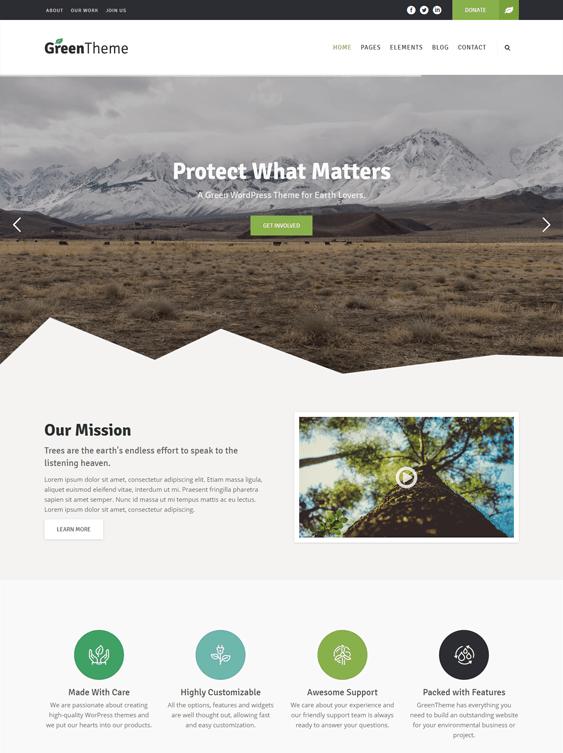 green organic ecofriendly wordpress themes
