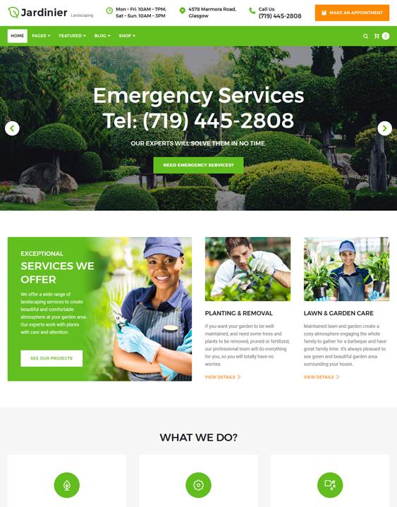 jardinier wordpress theme landscaping landscaper gardeners