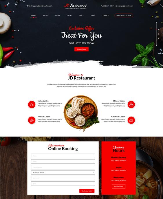 jd restaurant joomla templates