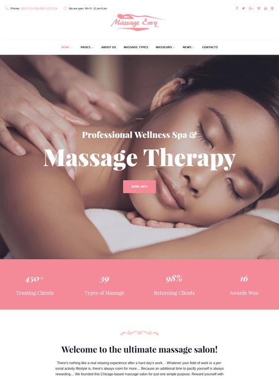 massage beauty salon spa wordpress themes