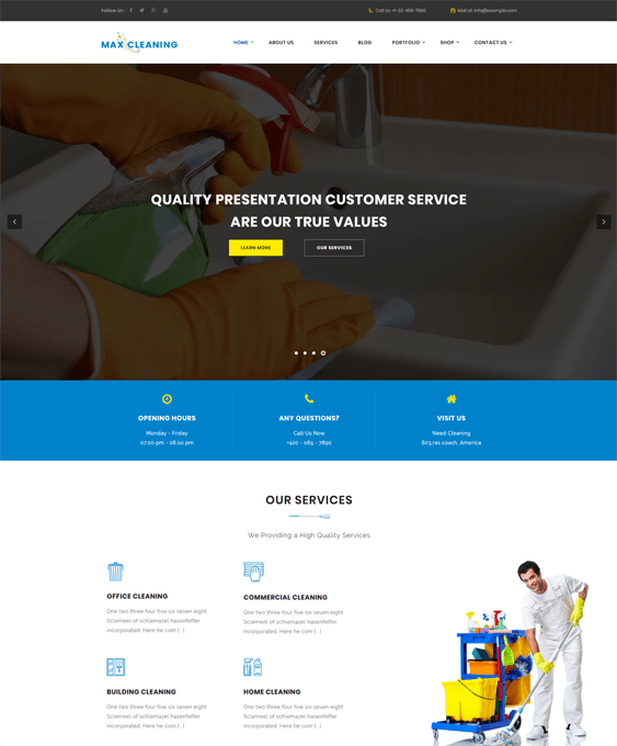 maxcleaning wordpress themes maid cleaning companies