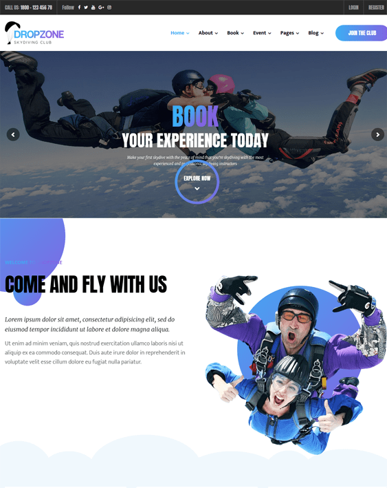 skydiving sports wordpress themes