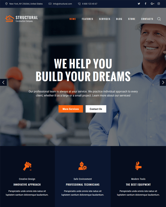 structural construction companies building contractors wordpress themes