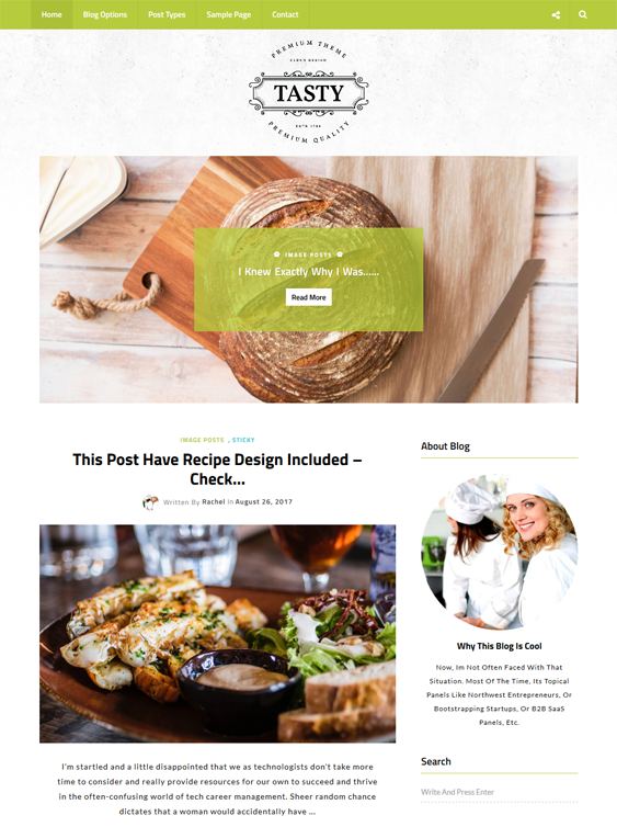 tasty food recipe wordpress themes