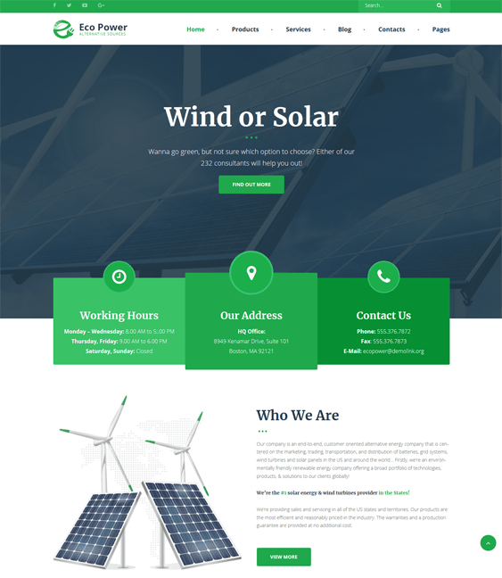 ecopower construction company building contractor wordpress themes