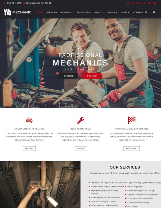 mechanic car vehicle automotive wordpress themes
