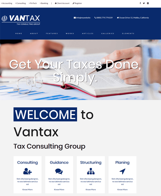 vantax accounting wordpress themes
