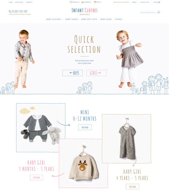 Infant Clothes baby kids children Magento Themes