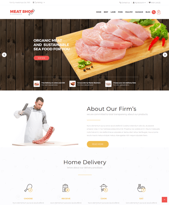 meat food drink restaurant opencart themes