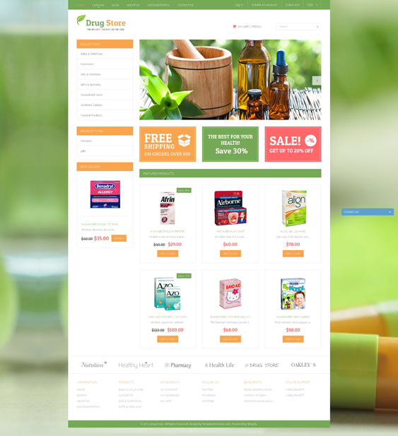 Medical Treatment Substances drug store pharmacy shopify themes