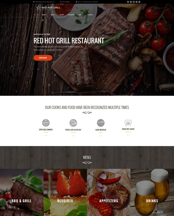 Red Hot Grill Restaurant steakhouse WordPress Theme