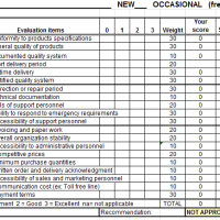Vendor Scorecard - Supplier Evaluation Form