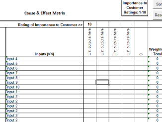 Six Sigma C&E Matrix