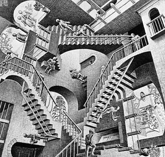 Relativity, by M. C. Escher. Lithograph, 1953.