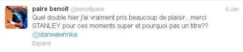 Benoit Semifinal Tweet