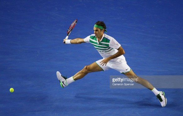 Roger leaping running forehand semifinal AO 2016 Getty