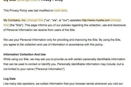 example of privacy policy