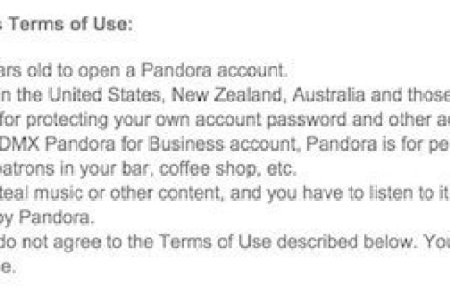 pandora terms use summary