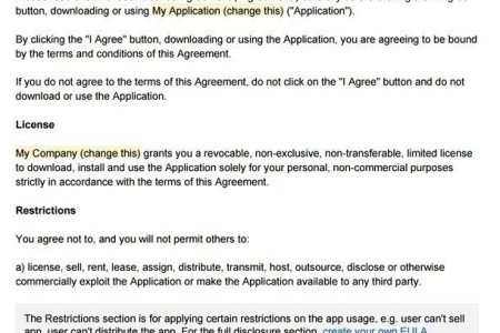 example of end use license agreement