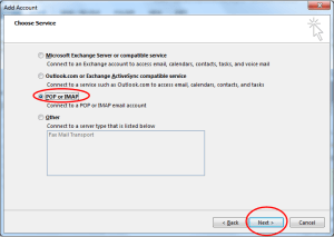 outlook choose POP IMAP