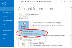 outlook info account go to settings