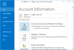 outlook info account