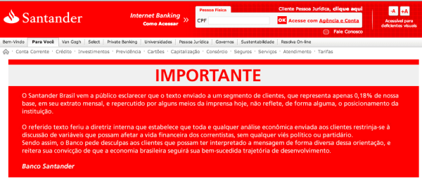 Aviso do Santander