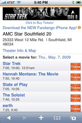 Fandango Mobile Site in Safari