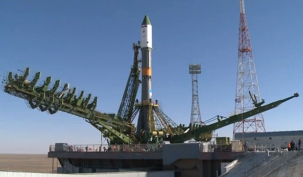 A Soyuz rocket with Egyptsat-2 satellite shortly after rollout to the launch pad at Site 31 on April 13, 2014.  According to its official specifications, the one-ton 559GK satellite could discern details as small as one meter on the Earth's surface. In addition to regular photos, the satellite's optics could produce infrared imagery.