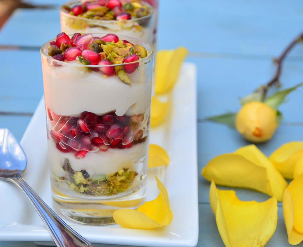 Uniquely flavored  Vegan Rose Water Almond Milk Pudding a true treat, any time of the year. #Rosh Hashanah #recipe #rose water #Pudding #vegan #Parve