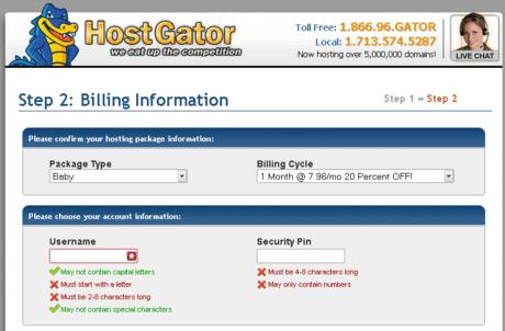 cara membeli hosting di hostgator pilih billing cycle picture