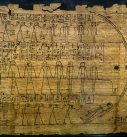 Black ink on papyrus. There are three registers with netherworld deities/demons drawn in a cursive, stick-figure-like manner. They are surrounded by hieroglyphs