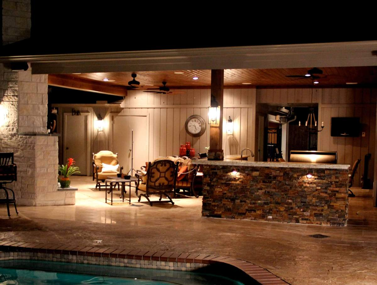 Memorial Area Patio Cover Kitchen Fireplace Texas