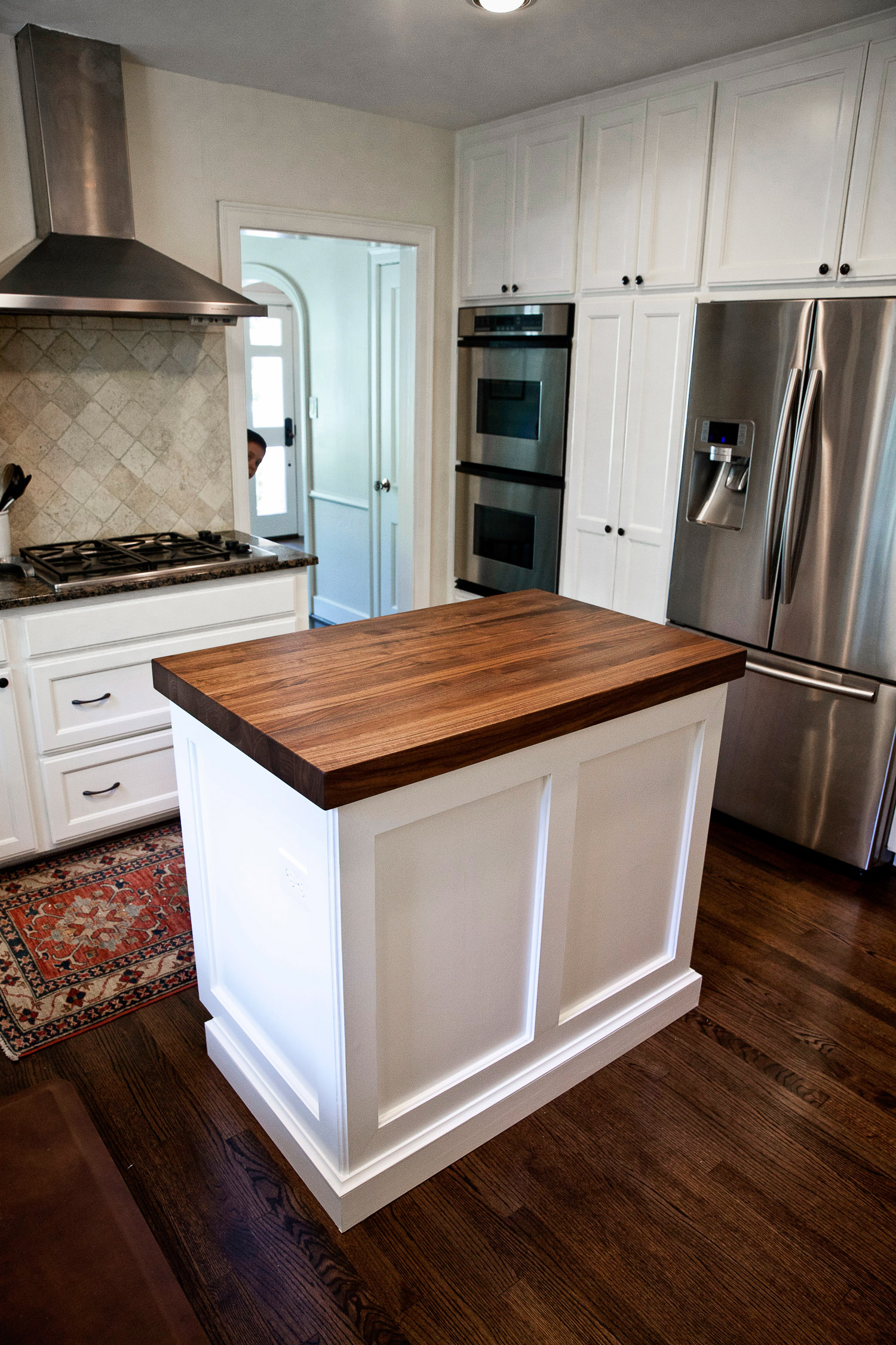 walnut kitchen island in west u kitchen island countertop Walnut Kitchen Island Counter in West University Houston Texas