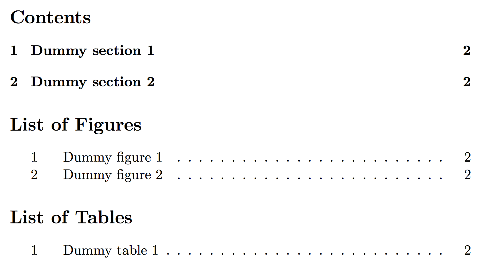 Latex table of contents list of figures tables and some for Table in latex