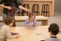 The kids saw iPads! On a kid sized table! They could play with!!!