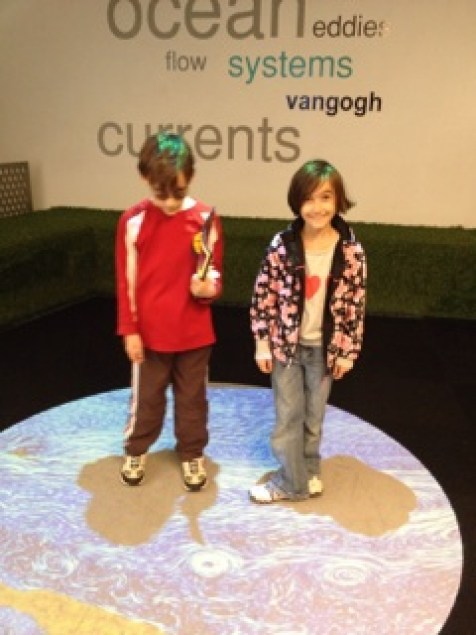 The floor projection moves with waves and Van Gogh swirls the kids recognized.