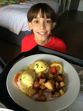 C ordered eggs benedict through room service all by himself!