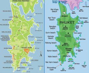 Карта пляжей Пхукета