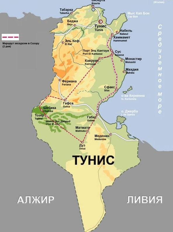 Карта Туниса с городами