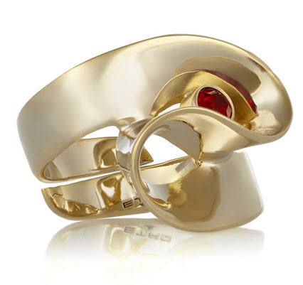 ETRO Gold-plated crystal ring