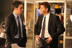 "BONES: L-R: John Boyd and David Boreanaz in the ""The Donor in the Drink"" episode of BONES airing Thursday, Oct. 15 (8:00-9:00 PM ET/PT) on FOX. ©2015 Fox Broadcasting Co. Cr: Patrick McElhenney/FOX"